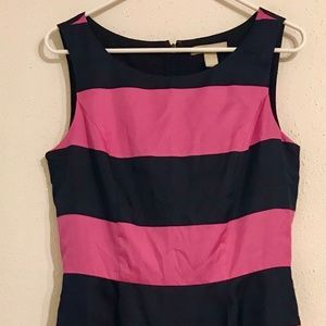 Banana Republic Navy and Pink Striped Dress